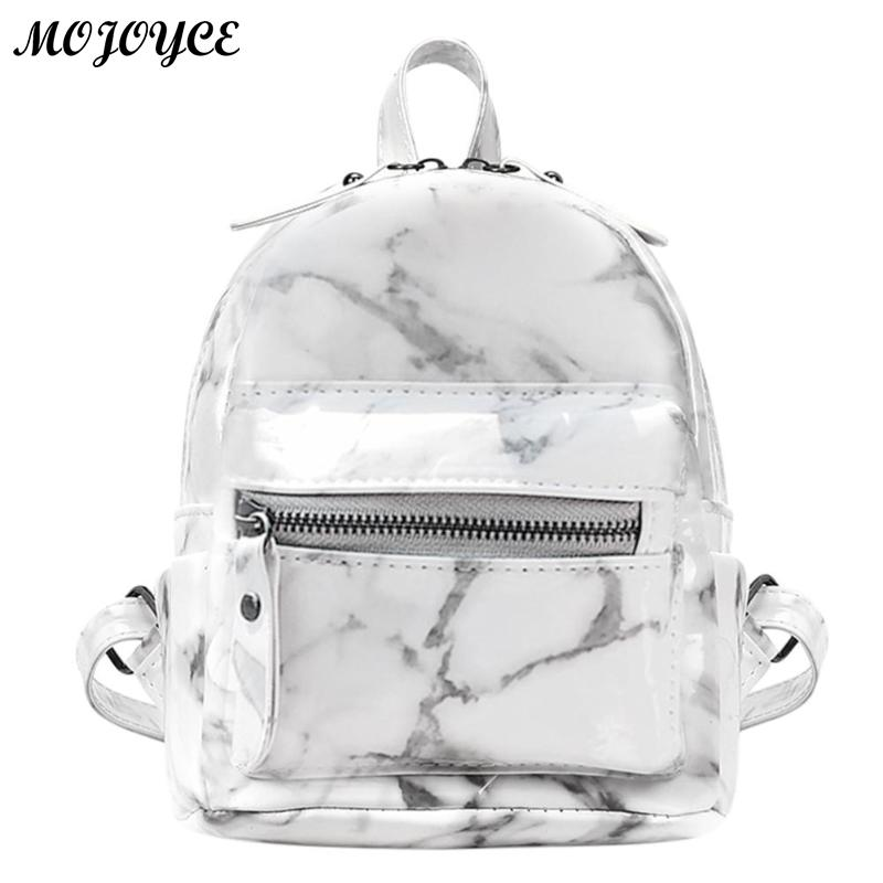 New Marble Pattern Backpack Women Small Backpack PU Leather Rucksack for Teenage Girls Black White 2018 Female Cute Back Pack cute 3d dog pattern silicone back case for iphone 4 4s black white