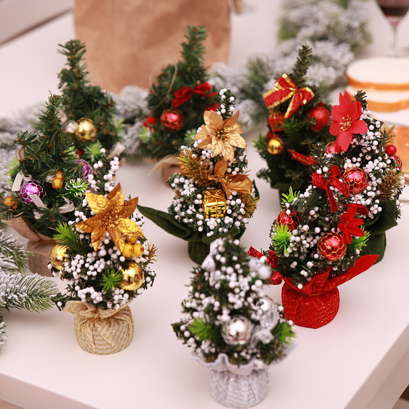 Home Mini Artificial Christmas Trees Decorations Supplies For Home Xmas Gifts Christmas Tree Decoration Holiday Accessories