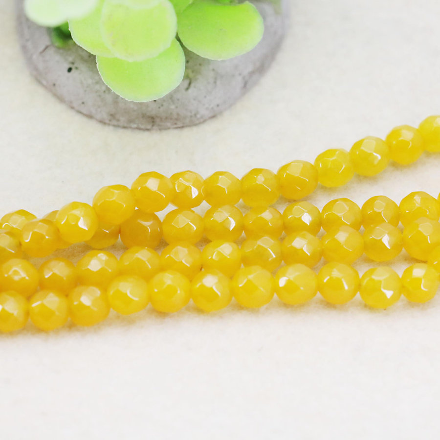 489cd814338c Moda Calcedonia Piedras elegante Accesorios parte artesanía amarillo  redondo flojo Cuentas piedra facetd joyería 15 pulgadas regalo bolas