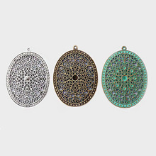 цена на 2pcs Patina Verdigris Antique Silver/Bronze Boho Bohemia Charms Open Flower Large Oval Pendant For Jewelry Making Findings