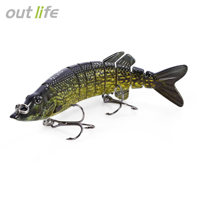 Outlife 9-segement Swimbait Crankbaits Multi-jointed Pike Muskie Fishing Lure with Treble Hook Artificial Bait Tackle 12.5cm 20g