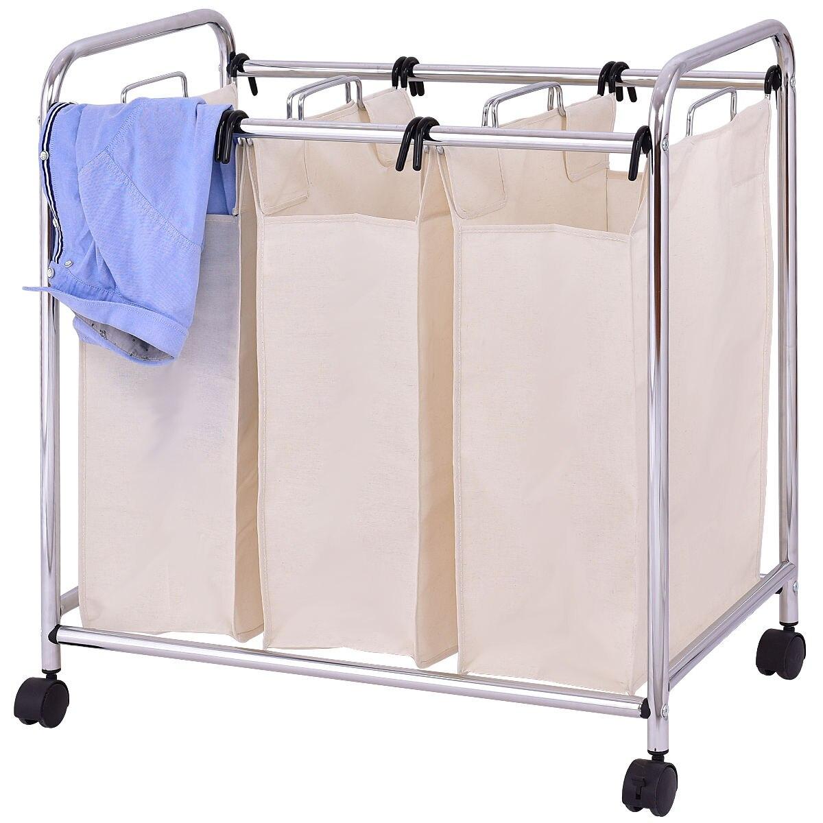 Goplus бельем корзина Тройная сумка сортировщик Портативный Ванная комната препятствуют  ...