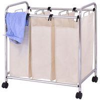 Goplus Wasserij Winkelwagen Mand Triple Bag Sorter Draagbare Badkamer Wasmand Bins Rolling Vuile Kleren Opslag HW55257
