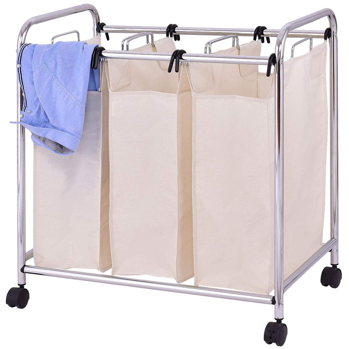 Goplus Laundry Cart Basket Triple Bag Sorter Portable Bathroom Hamper Bins Rolling Dirty ...