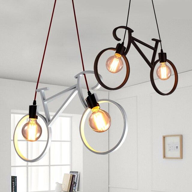 Modern Retro Iron Bicycle Shape Pendant Lamp E27 Holder AC 110-240V Foyer Coffee House Dining Room Bike Lighting Fixture
