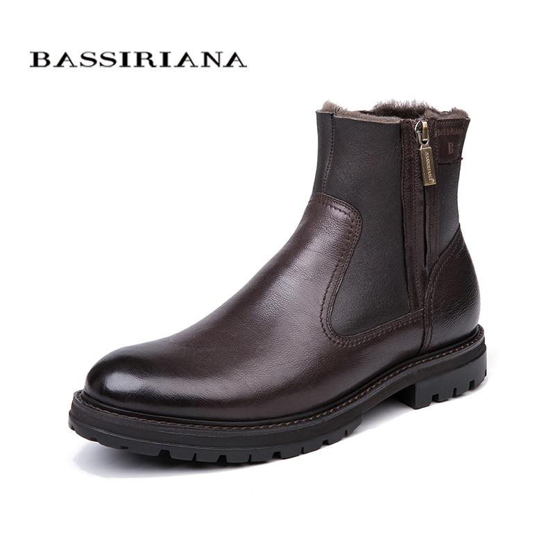 BASSIRIANA-hommes de bottes d'hiver, naturel en cuir doublure en laine de mouton, grand Russe tailles 39-45, noir et brun livraison gratuite