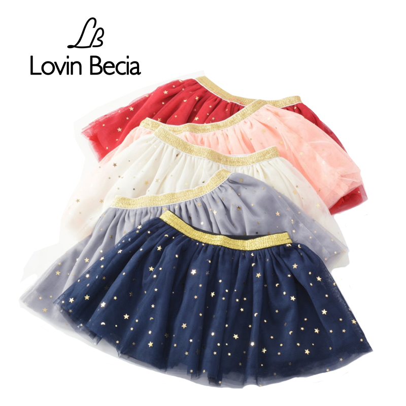 LovinBecia Autumn girls fluffy lace skirt flashing star children Pleated baby Princess Birthday Party Skirt Ball Gown Pettiskirt knot side pleated skirt