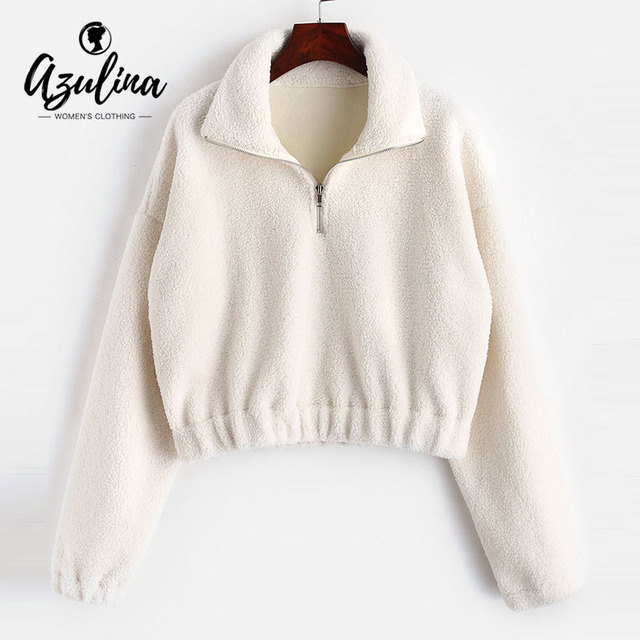 AZULINA Half Zip Plain Faux Fur Sweatshirt Mock Neck Sweatshirt Sherpa  Sweatshirts Hoodies Women Tops Pullovers Female Clothing 8977b4370
