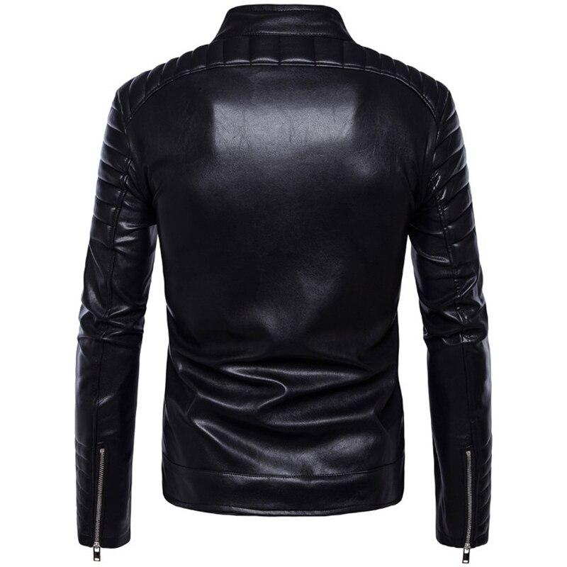 Classique noir moto en cuir veste hommes nouveau Style britannique multi-zipper veste décontracté cuir casual Biker veste mâle manteau 5XL - 2