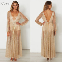 Long Sleeve Gold Sequin Dress Women Sparkly Glitter Party Maxi Dresses Sexy Plunge Deep V Neck Backless Beach Club Evening Robes
