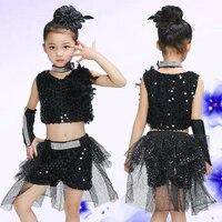 소녀 장식 조각 재즈 댄스 의상 탑 + 짧은 + 목걸이 + 신발 커버 + 1 개 장갑 재즈 댄스 의상 여자 아이