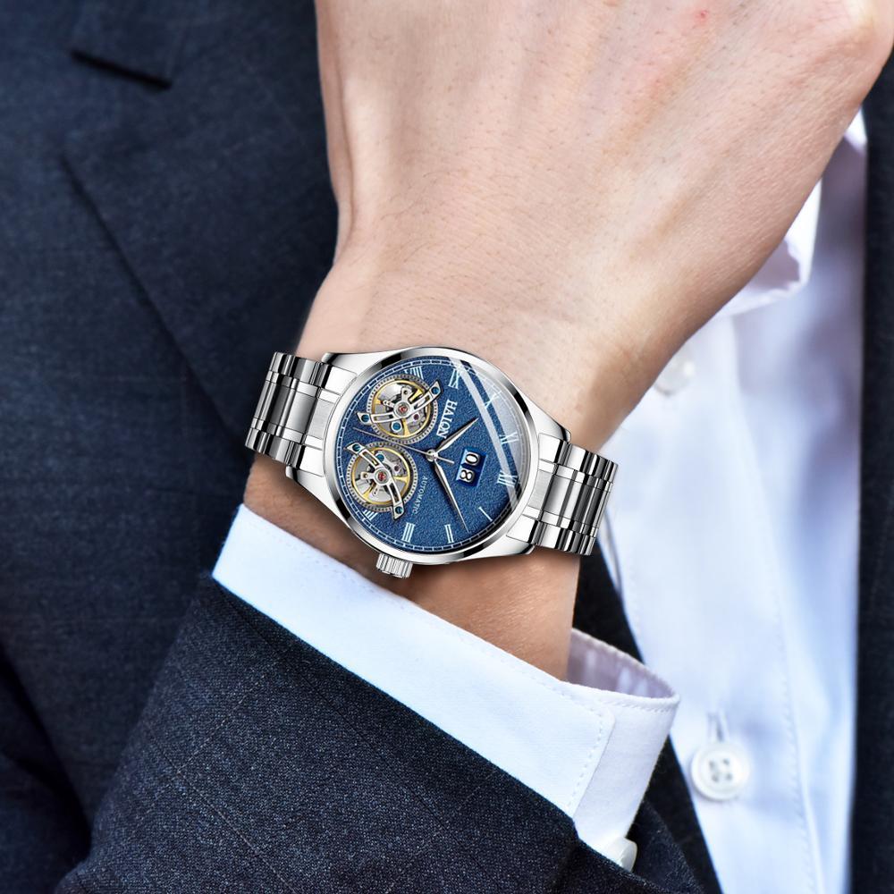 HAIQIN Nieuwe Horloges Mens Tourbillon Automatische Mechanische Horloge Mannen Luxemerk Bedrijf Roestvrij Stalen Horloge Relogio Masculino-in Mechanische Horloges van Horloges op  Groep 3