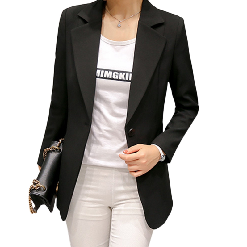 New 2018 Spring Autumn Fashion Single Button Blazer Ladies Slim Long Sleeve Office Wear Blazer Mujer Over Sized 2XL