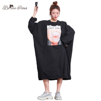 BelineRosa Big Sizes Women Clothing 2018 Autumn Plus Size Oversized Women Clothes 5XL 6XL 7XL Large Size Dress TYW00932