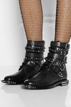 2016 fall Studded Rangers Low Combat Black Boots Genuine leather multi wrap around spike and stud embellished buckle boots