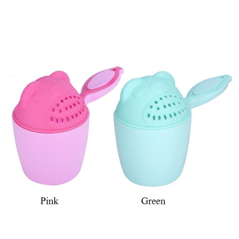 Baby Shampoo Cup Summer Cute Bear Baby Kid Washing Hair Spoon Cup Kids Bath Tool Bathing Flusher 2018 Protection Eye Pink Green