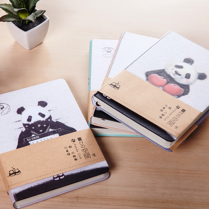 Crazy Panda Study Journal Cute Diary Blank Papers Art Drawing Notebook Hard Cover
