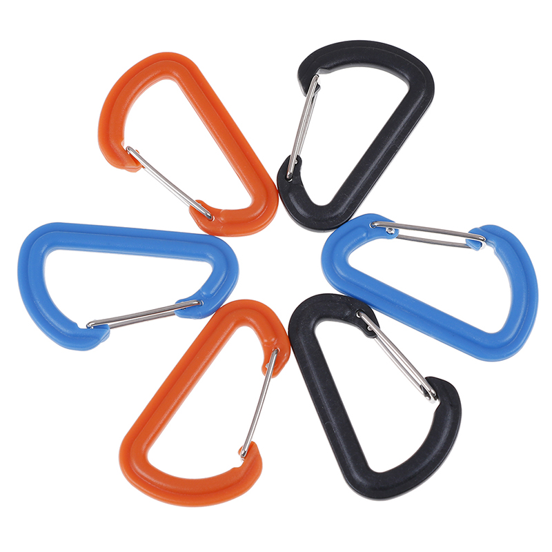 Plastic EDC Keychain Clip Carabiner Hiking Buckle Split Mini Spring Clasps Hook Carabiner Claspss Camping Climbing Accessories