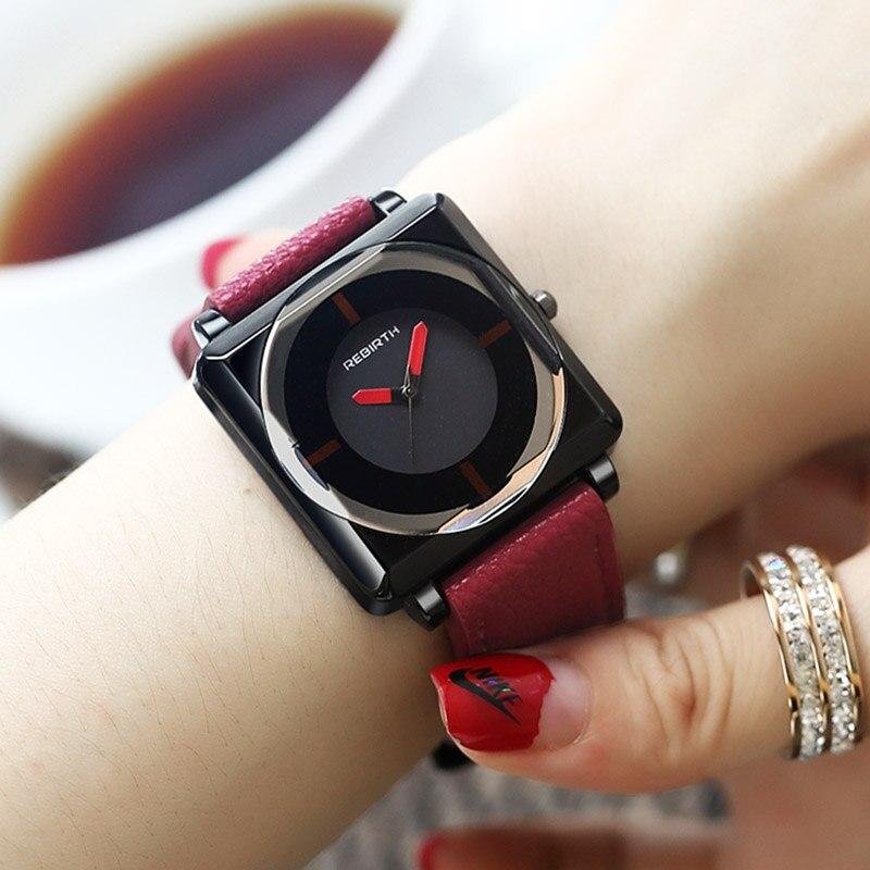 2018 Top marque carré femmes Bracelet montres contractées en cuir cristal montres femmes robe dames Quartz horloge Dropshiping