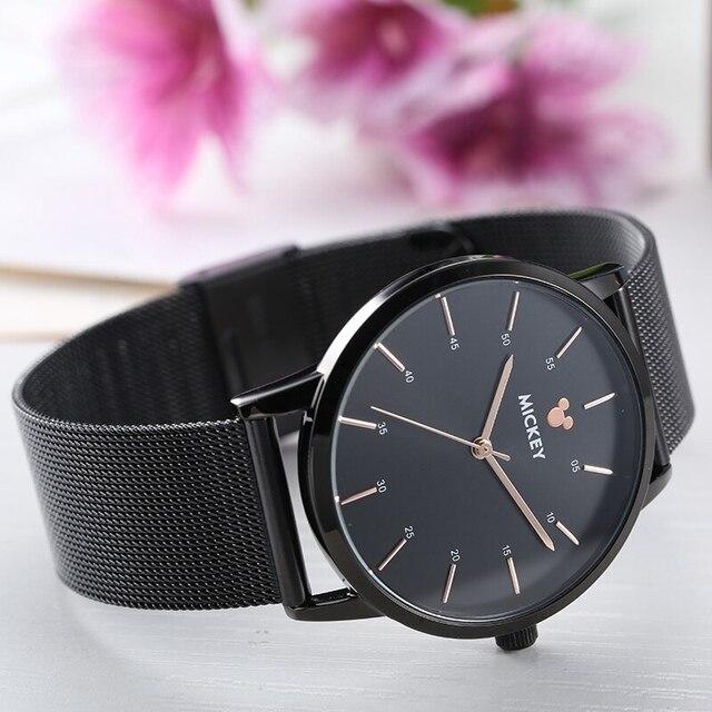 Disney Brand Top Fashion Black Watches Mesh Band Men And Women Quartz Mickey Watch Stainless Steel Japan Movt Wristwatch 3ATM
