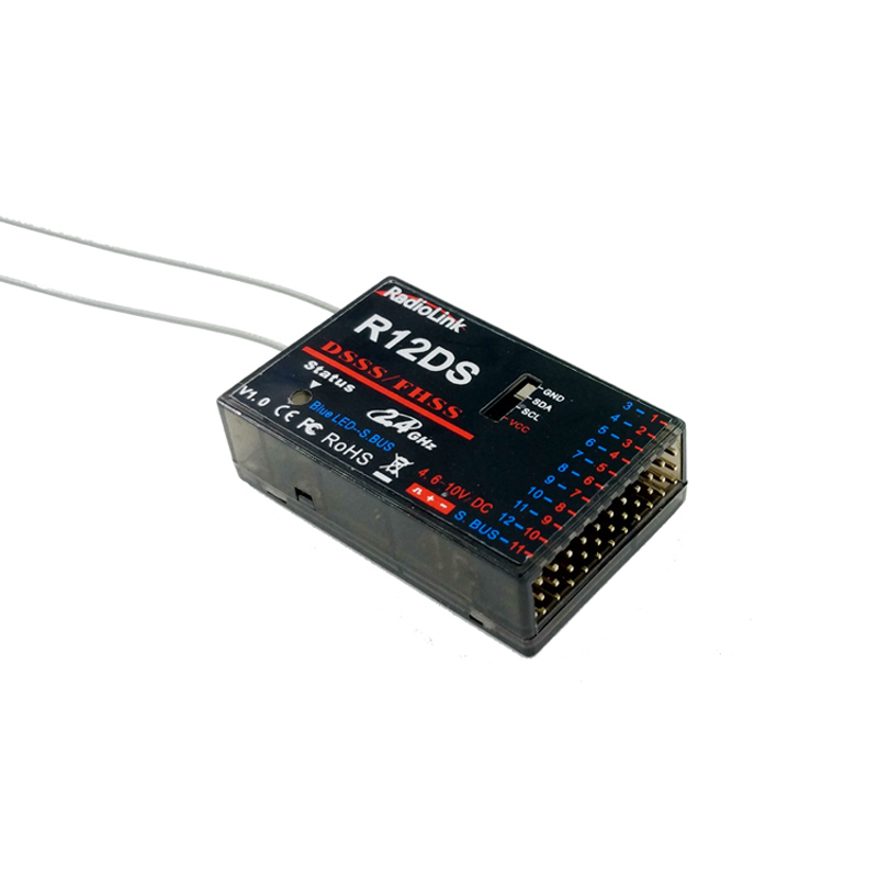 RadioLink R12DS 12CH 12 Channel Receiver 2.4Ghz For AT10 AT10II Transmitter Aircraft Aerial Photography Device radiolink r12ds 12ch 12 channel receiver 2 4ghz for at10 at10ii transmitter aircraft aerial photography device f04939