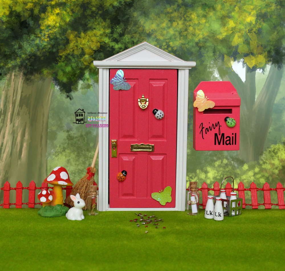 1 12 dollhouse miniature fairy door rose red outside open for Elf door accessories