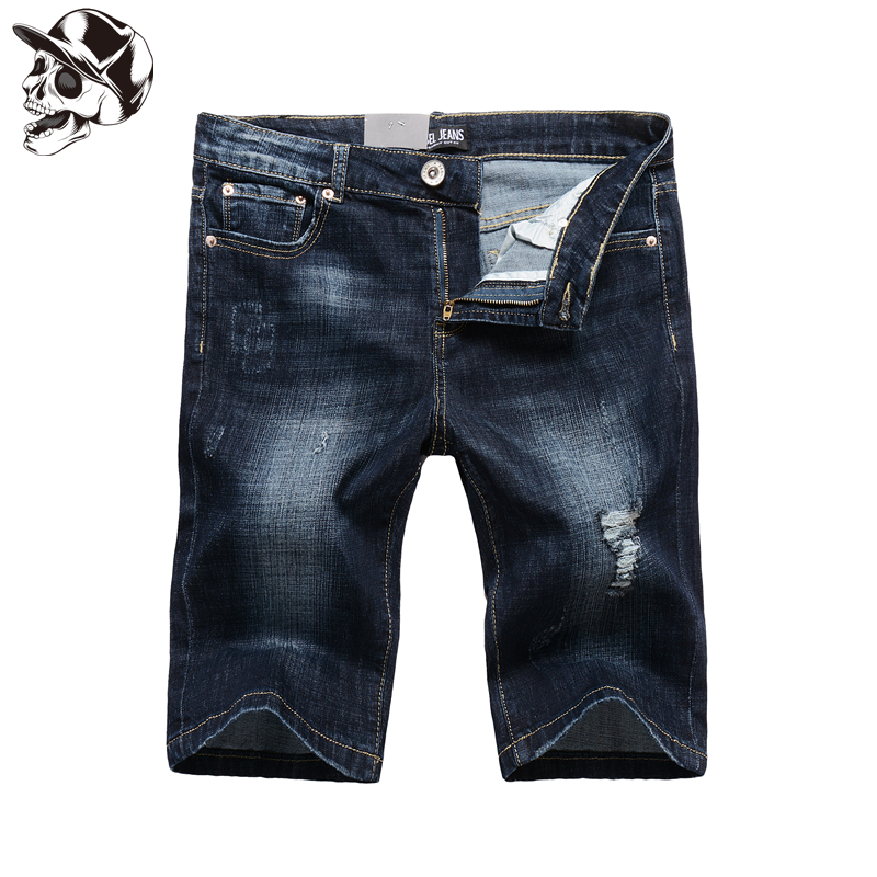 1003-2 Designer Dark Blue Ripped Shorts Elastic Jeans Men High Quality Brand Clothing Distressed Men`s Stretch Jeans Shorts napapijri guji check dark blue