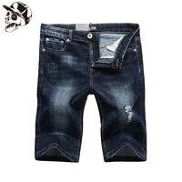 1003-2 Tasarımcı Koyu Mavi Ripped Şort Elastik Jeans Erkekler Yüksek Kalite Marka Giyim Sıkıntılı erkek Streç Kot şort