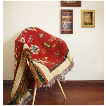 Pure cotton linen Retro nostalgia carpet thin blanket tie-dye Ethnic Art blanket bed cover living room bedroom Felts tapestry