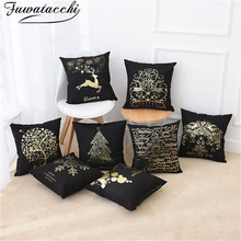 Fuwatacchi Black Gold Foil Linen Cushion Cover Christmas Tree Deer Throw Pillow Cover for Home Chair Sofa Decorative Pillows цены