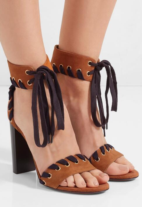 Fashion Brown Suede Leather Women Chunky Heel Sandals Mixed Colors Shoelace Ladies Ankle Lace Up High Heels Sexy Dress Shoes
