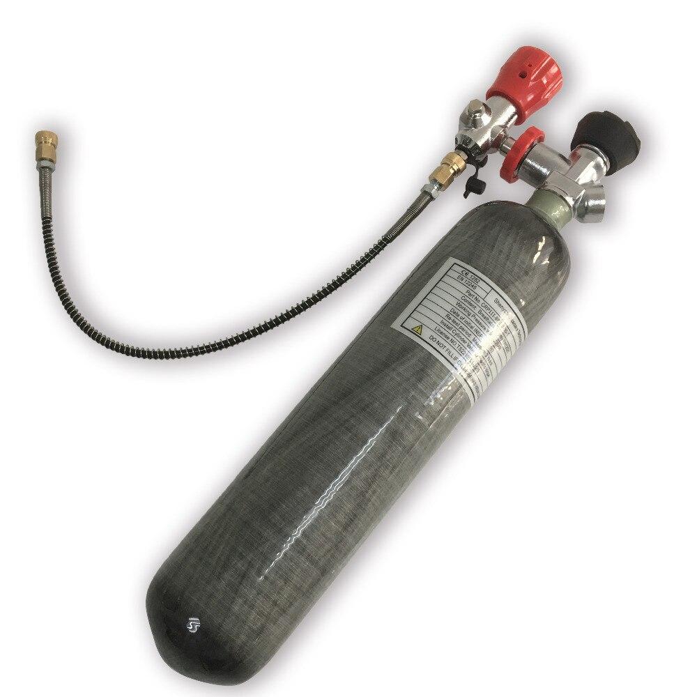 AC102301 2L 300Bar Tanque Paintball PCP Carabina Rifle de Caça com Tanque de Alta Pressão da válvula & mini estação de enchimento garrafa de ar de mergulho