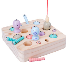 Baby Wooden Toys Digit Magnetic Games Fishing Toys Game Catch Worm Educational Puzzle Toys For Children Girl Gifts