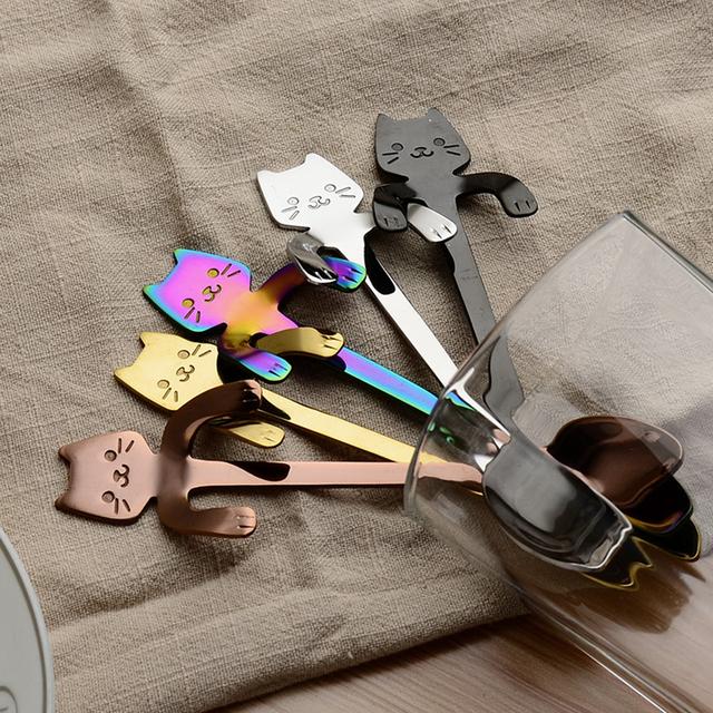 Stainless Steel Mini Cat Kitten Spoons