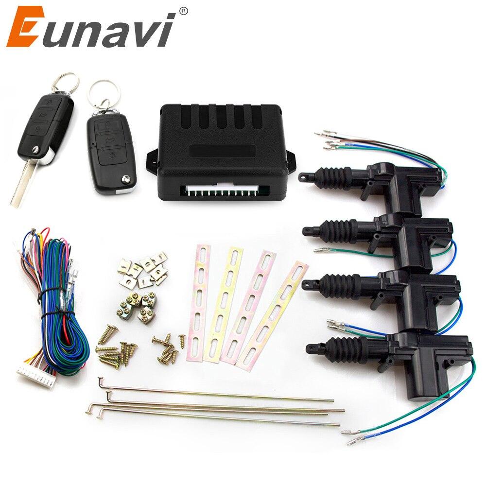 Actuador universal de la cerradura de la puerta del coche Eunavi, Motor de 12 voltios (paquete de 4), soporte remoto de 4 puertas para coche, sistema de entrada sin llave
