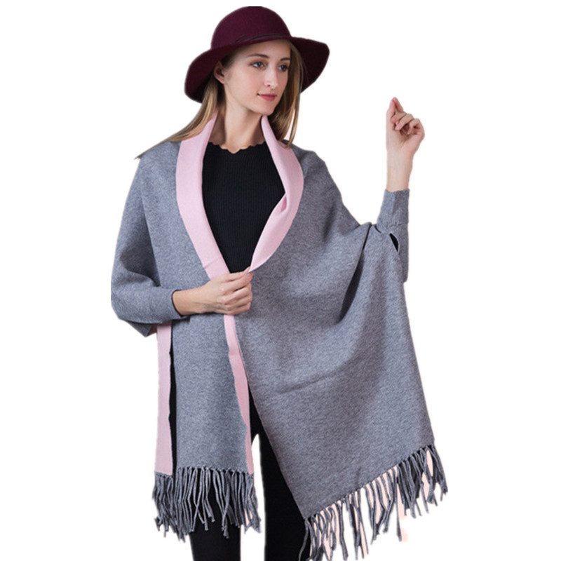 Women Scarf Winter Women Scarves Long Wrap Shawl Thick Warm Cotton Cashmere Wool Poncho Solid Womens Scarf Cape with Sleeves