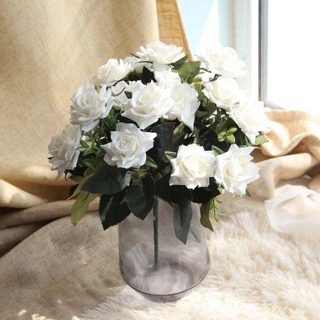 HAOCHU 2 teile/los 31 cm Weiße Rose Blume Künstliche Pflanze Blossom ...