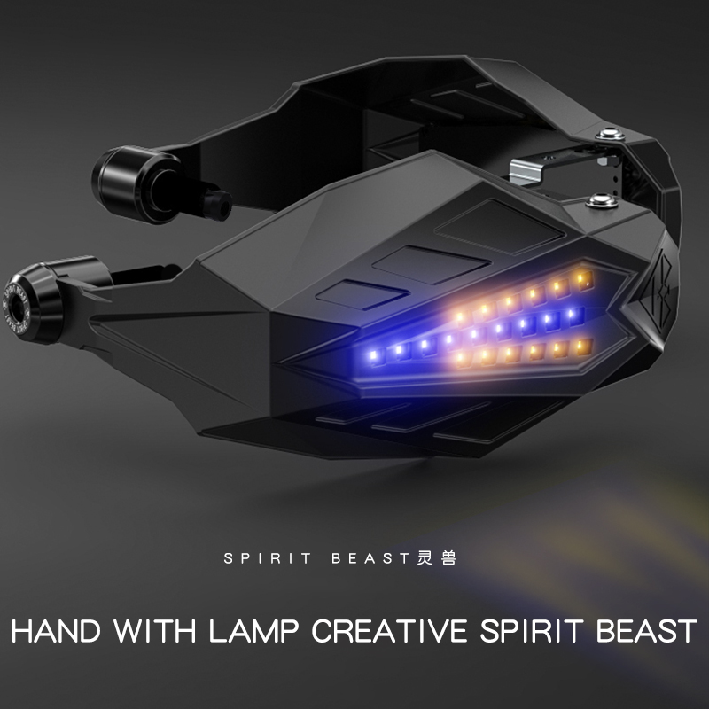 SPIRIT BEAST Motorcycle Handguard Baffle Waterproof Windproof Motocross Grip Protection Universal Hand Guard With LED Light