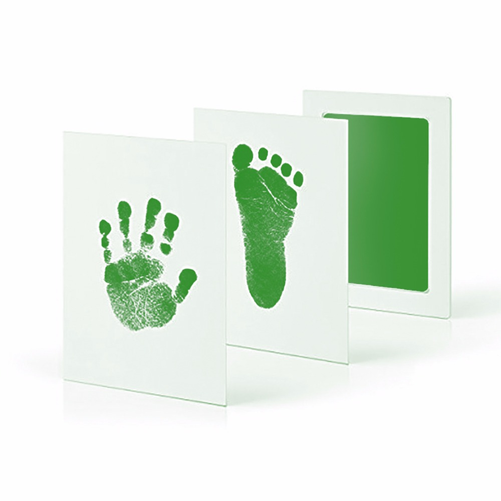 Taoqueen Green Footprints Special Baby Hand Foot Print And Stamp Pad Ink Leave Footprints  Baby Souvenirs Footprints-G
