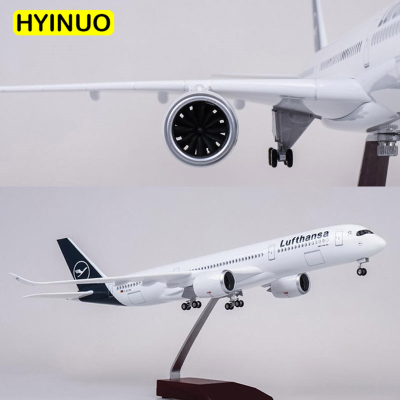 Oyuncaklar ve Hobi Ürünleri'ten Pres Döküm ve Oyuncak Araçlar'de 1/142 Ölçekli 47CM Uçak Airbus A350 Lufthansa Havayolu Modeli W led ışık ve Tekerlek Diecast Plastik Reçine Uçak Koleksiyonu Için'da  Grup 1