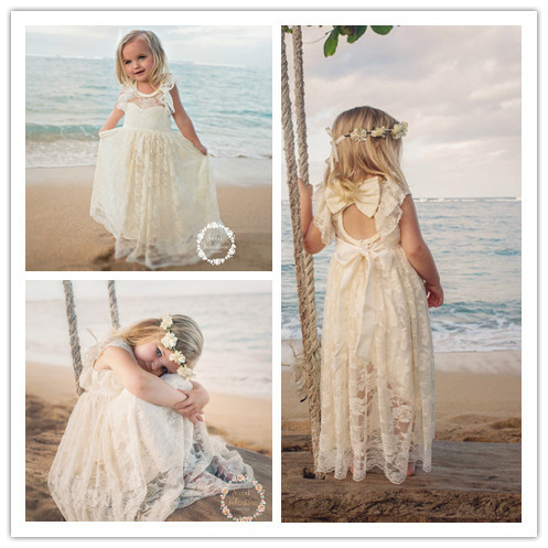 Greek Beige Lace Flower Girl Dresses For Beach Wedding Boho Ruffles ...