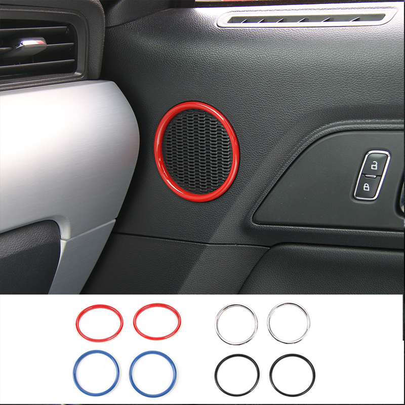 MOPAI Small Size Car Interior Door Speaker Ring Decoration Cover ABS Stickers For Ford Mustang 2015 Up Car Styling цена