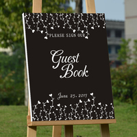 Rustic Wedding Guest Book Personalized Wedding Guestbook Custom Signature Book Black Canvas Guestbook Mariage Decoration Gifts