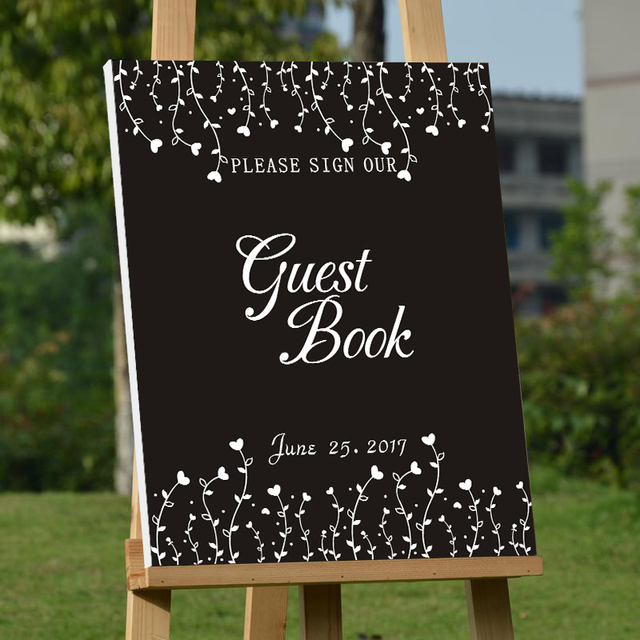 Rustic Wedding Guest Book Personalized Guestbook Custom Signature Black Canvas