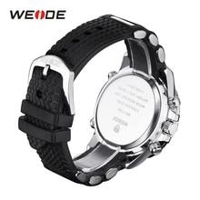WEIDE Men's Quartz Movement Luxury Sports Model Army Military Stopwatch Alarm Analog Digital Wristwatch Silicone Strap Band 3ATM