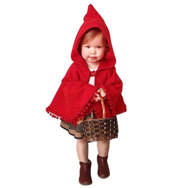 083460397 Baby Kids Toddler Red Warm Hooded Cape Cloak Poncho Coat Hoodie Kids Jacket  Outwear