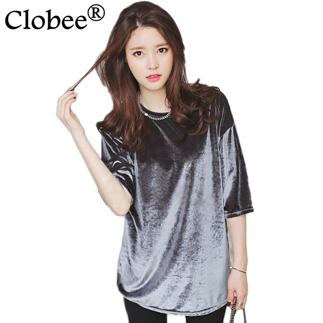 7e4a9d2a6 € 15.02 49% de DESCUENTO|S 4XL suelta más tamaño para Mujer 2017 camisetas  de Moda de Primavera de manga corta de terciopelo Camisetas Mujer ...