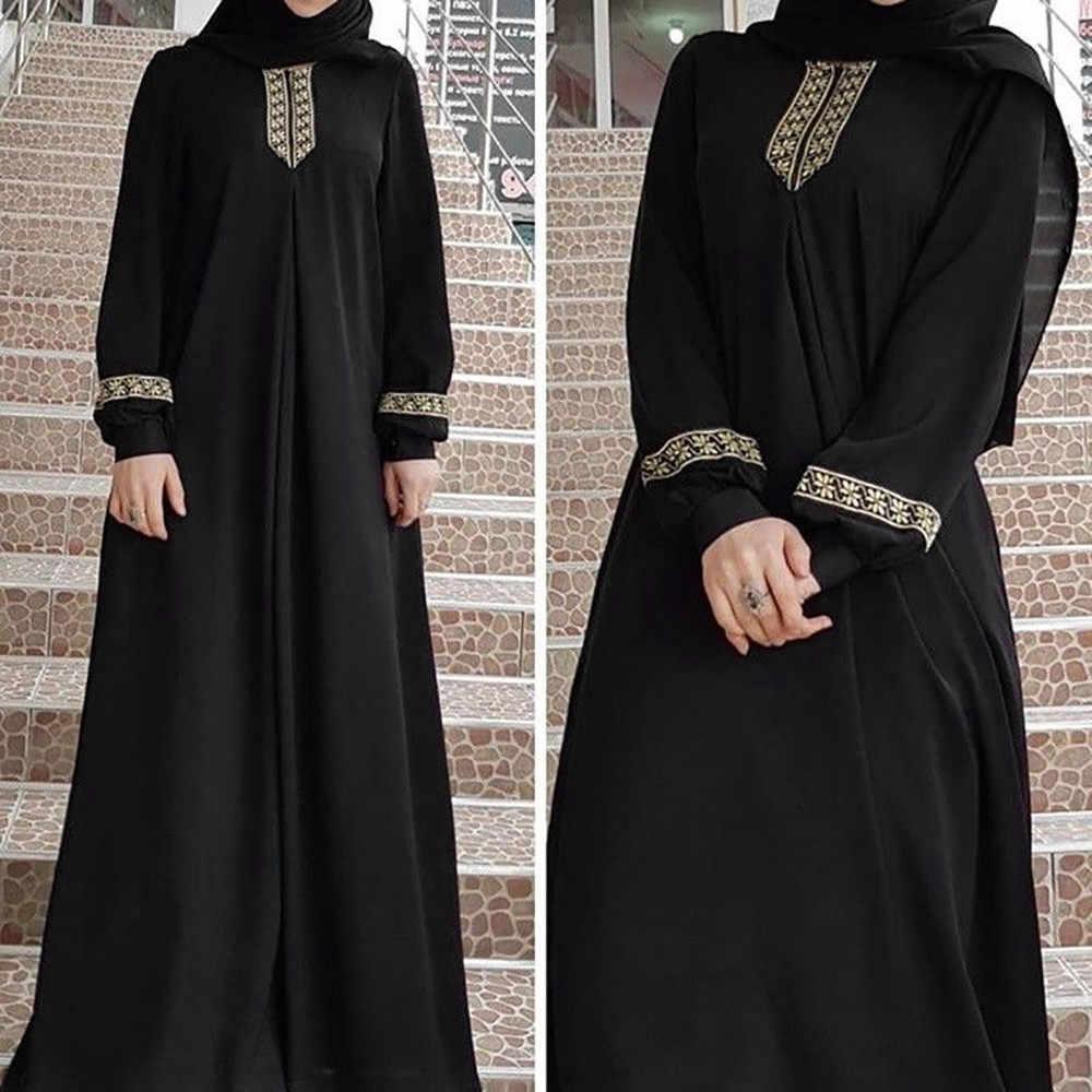 dfc84f1b2c92 ... Muslim Black Dress Kaftan Vintage Floral Embroidery Plus Size Lantern  sleeve Women Loose Maxi Dress Dubai ...