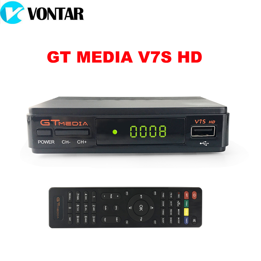 [Genuine] GTMEDIA V7S HD DVB-S2 HD Satellite TV Receiver Support PowerVu Biss Key Cccamd Youtube Youporn Set Top Box
