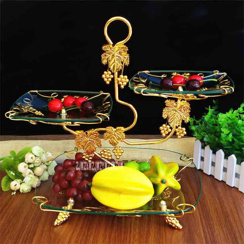 European Creative 3 Tier Tempered Glass Fruit Plate Living Room Wedding Party Hotel Dessert Fruit Cupcake Fruit Tray AR375